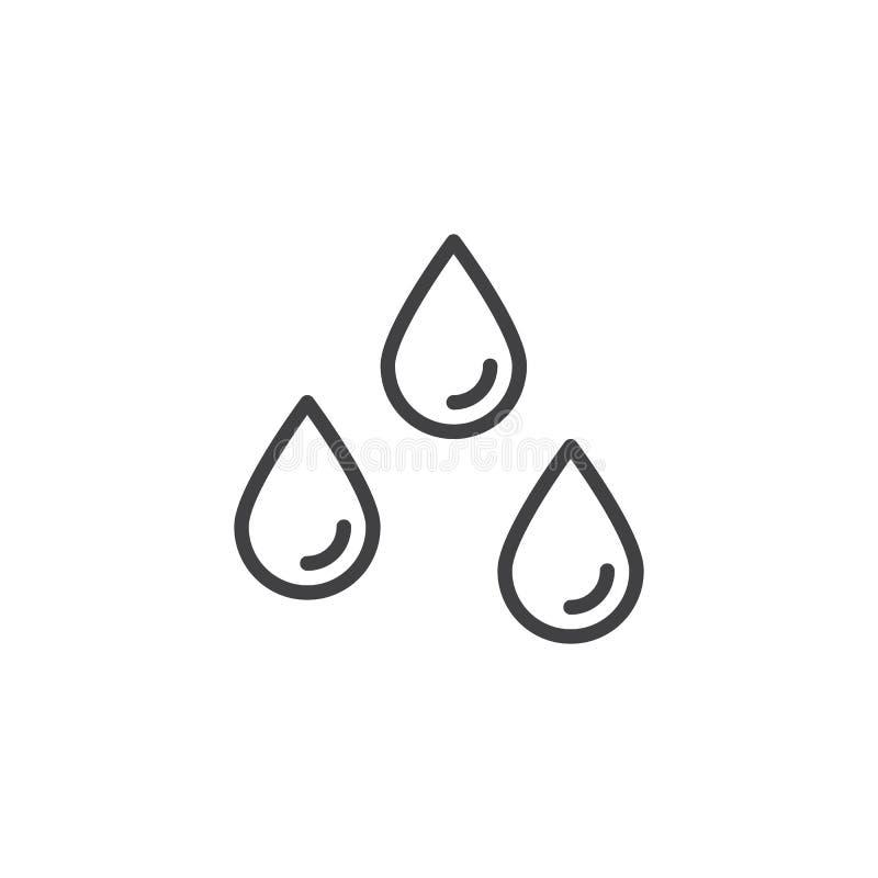La lluvia cae el icono del esquema ilustración del vector
