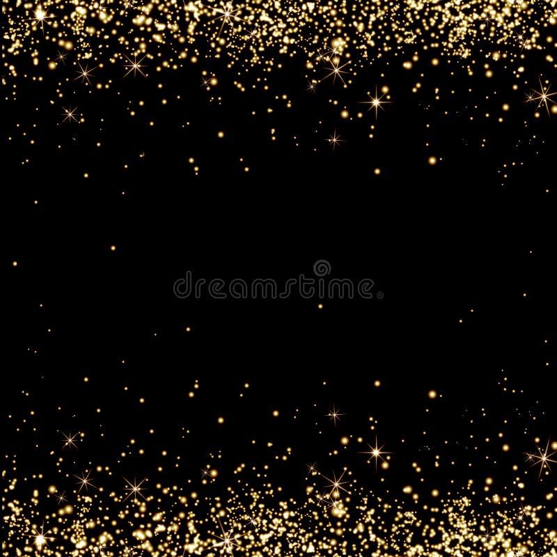 La lluvia de oro, champán salpica, fondo festivo, chispas, sta ilustración del vector