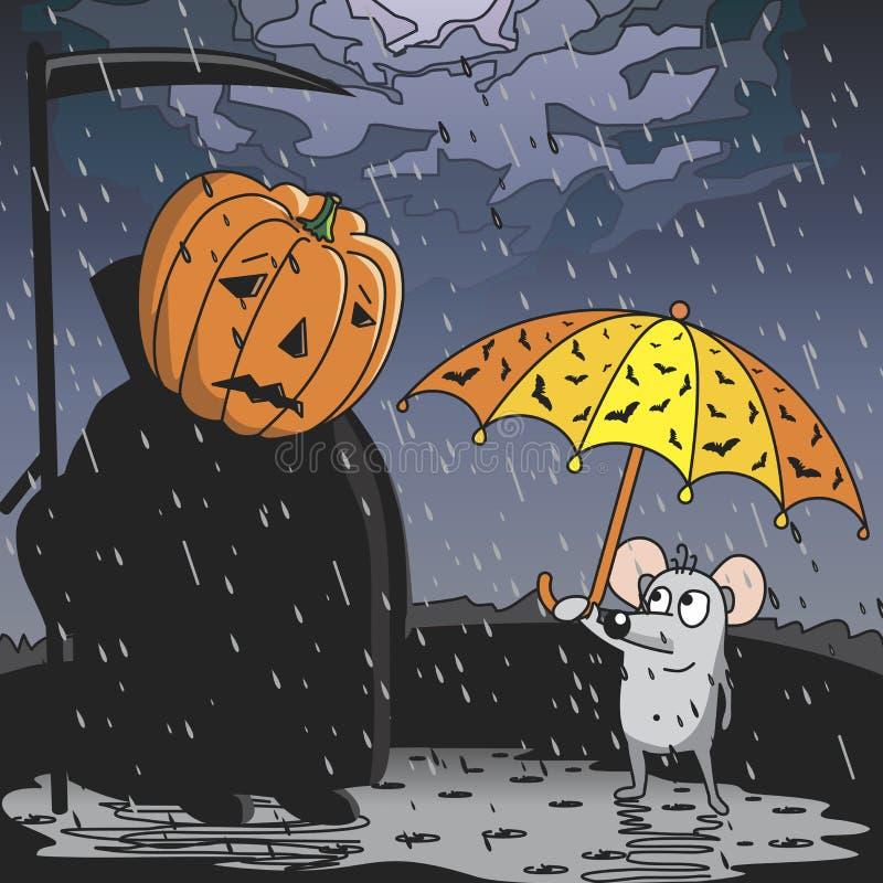 La lluvia en Halloween ilustración del vector