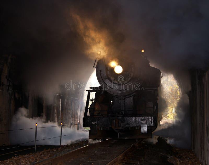 La locomotive à vapeur entre dans le tunnel image libre de droits