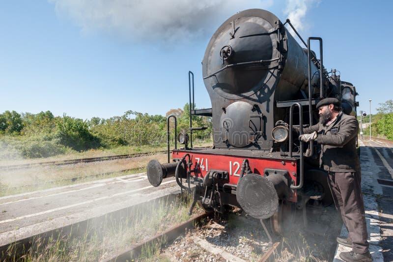 La locomotora de vapor para en las pistas, en el campo fotografía de archivo