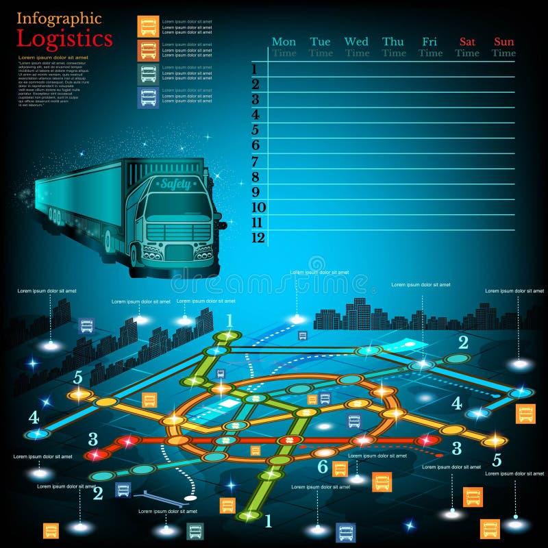 La logística infographic con las líneas de entrega en ciudad traza Simbols de la topografía, calendario el semana libre illustration