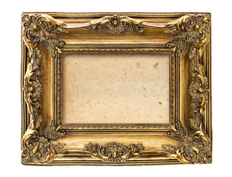 La lona sucia del marco del oro aisló el fondo blanco foto de archivo