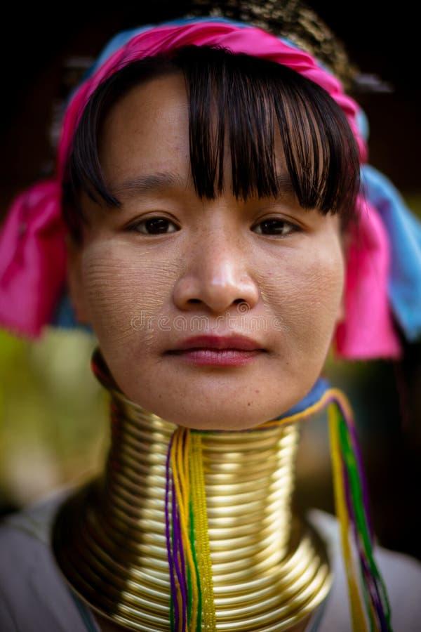 La longue femme étranglée de tribu de Karen pose pour la photo en collines près de Chiang Mai, Thaïlande photo libre de droits