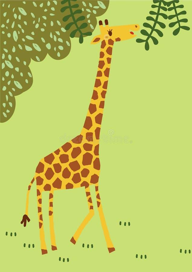La longue girafe de cou a drôle à voyager autour de la forêt profonde l'animal que large de l'Afrique deviennent à la bande dessi photos stock