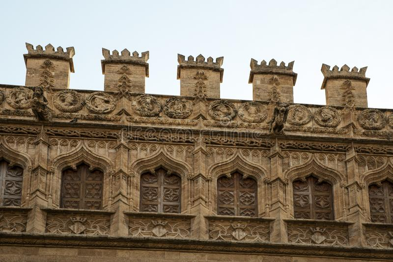 La Lonja de la Seda exterior view. This is the gothic builbing of Silk Exchange which was the center of silk trade of Spain stock photo