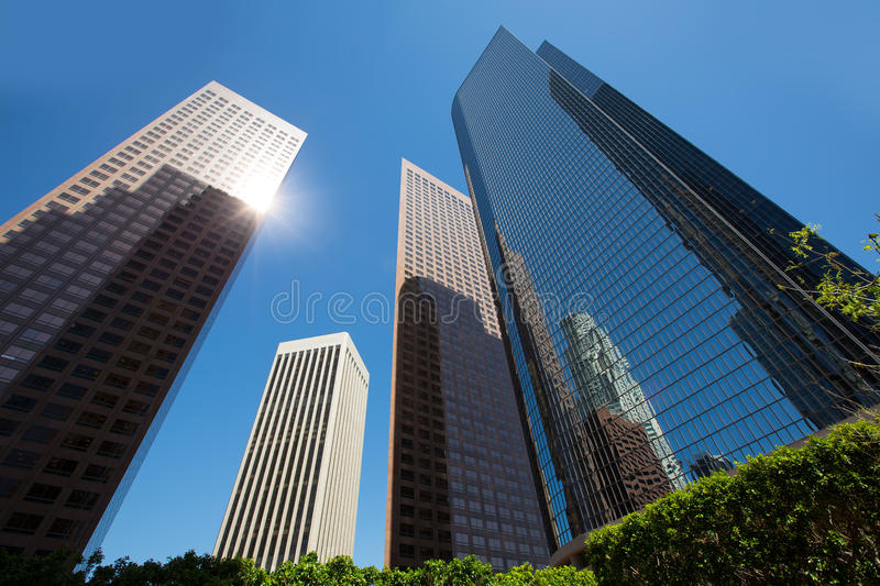 LA Los angeles downtown skyscrapers buildings. Viewed from below at California royalty free stock photos