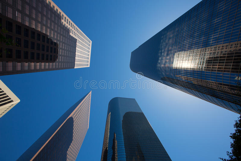 LA Los angeles downtown skyscrapers buildings. Viewed from below at California royalty free stock photography