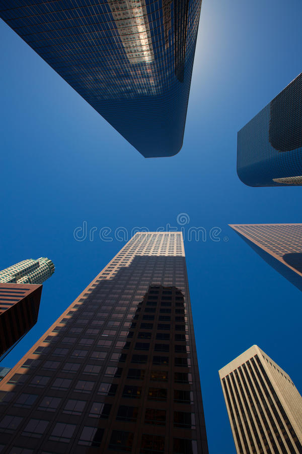 LA Los angeles downtown skyscrapers buildings. Viewed from below at California stock image