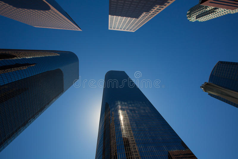 LA Los angeles downtown skyscrapers buildings. Viewed from below at California stock photography