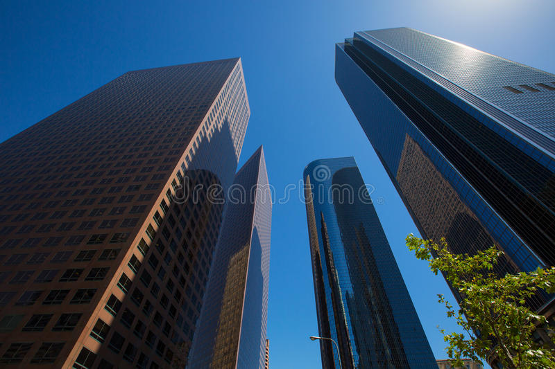 LA Los angeles downtown skyscrapers buildings. Viewed from below at California stock photo