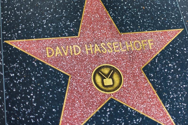 LA, LOS E.E.U.U. - 30 DE OCTUBRE DE 2018: Estrella de David Hasselhoffs en el salón de la fama de hollywood fotos de archivo