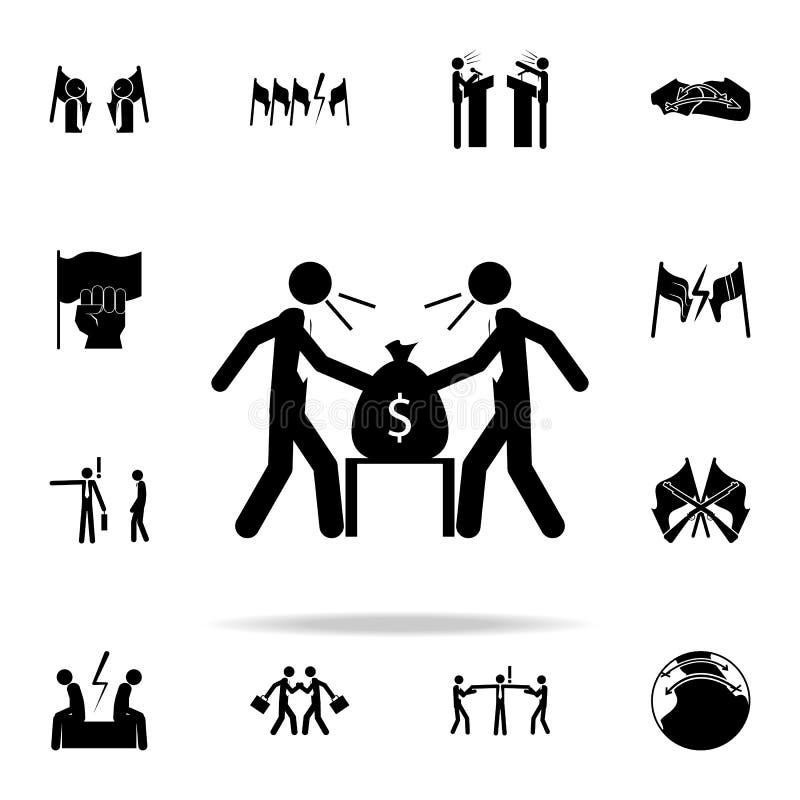 la lotta della gente di affari dell'icona insieme universale delle icone di conflitto per il web ed il cellulare royalty illustrazione gratis