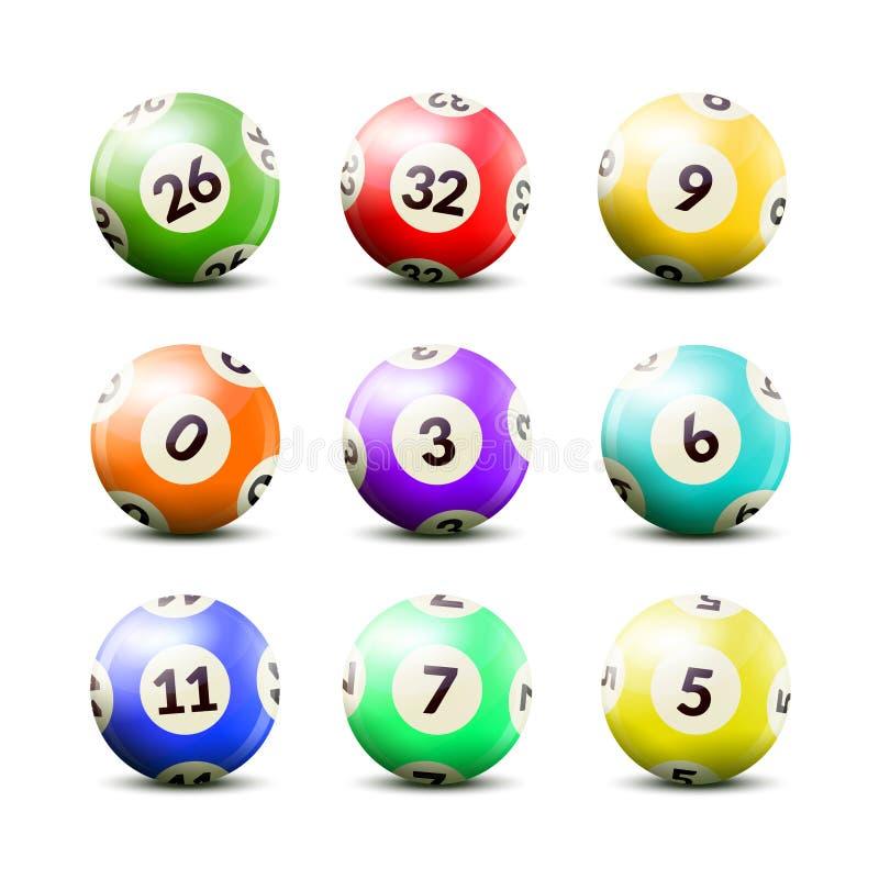 La lotteria ha numerato le palle messe illustrazione vettoriale
