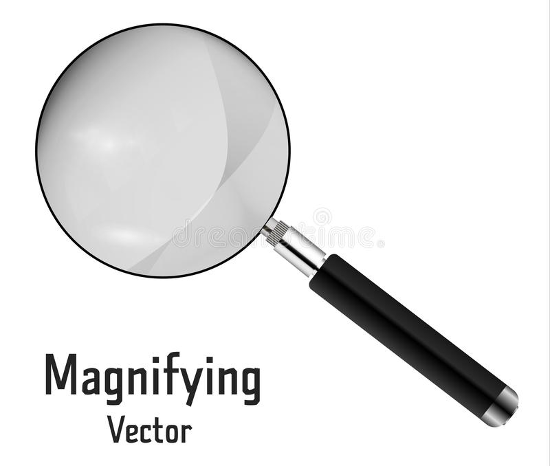 La loupe 3D réaliste a isolé sur un fond blanc Outil de agrandissement pour la recherche et la recherche de votre conception illustration de vecteur
