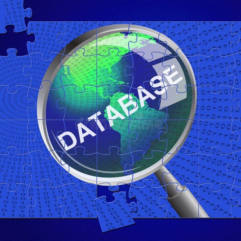 La loupe de base de données représente la recherche magnifient et des bases de données illustration libre de droits