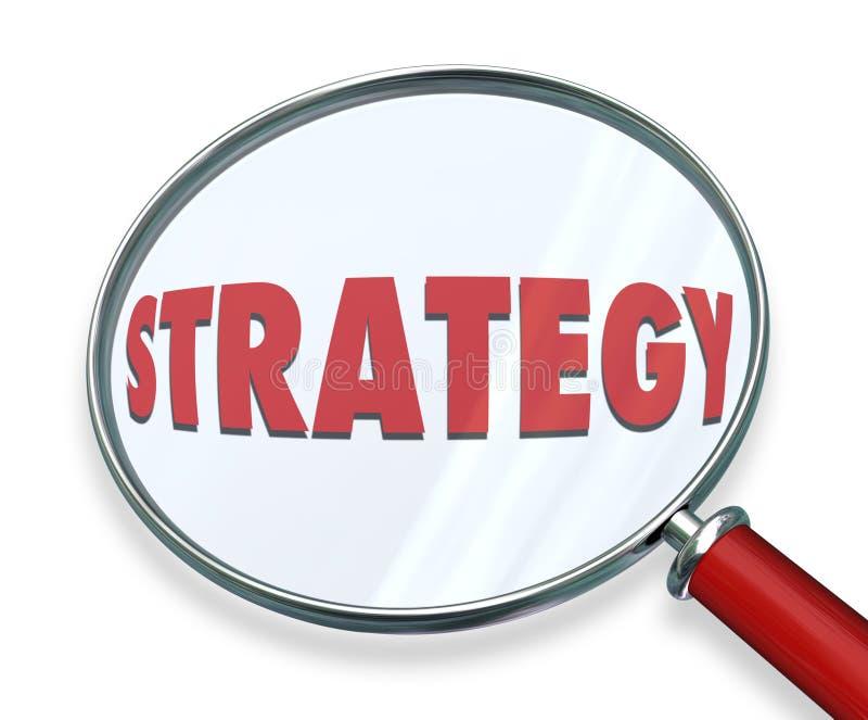 La loupe de stratégie évaluent évaluent examinent la mission O de plan illustration de vecteur