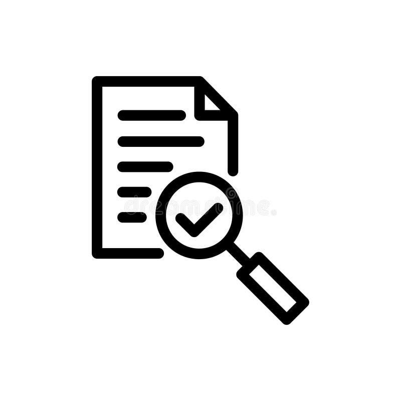 La loupe de vecteur d'icône d'audit comme le contrôle évaluent vérifiez le processus de critique de service, plan d'examen mi illustration de vecteur