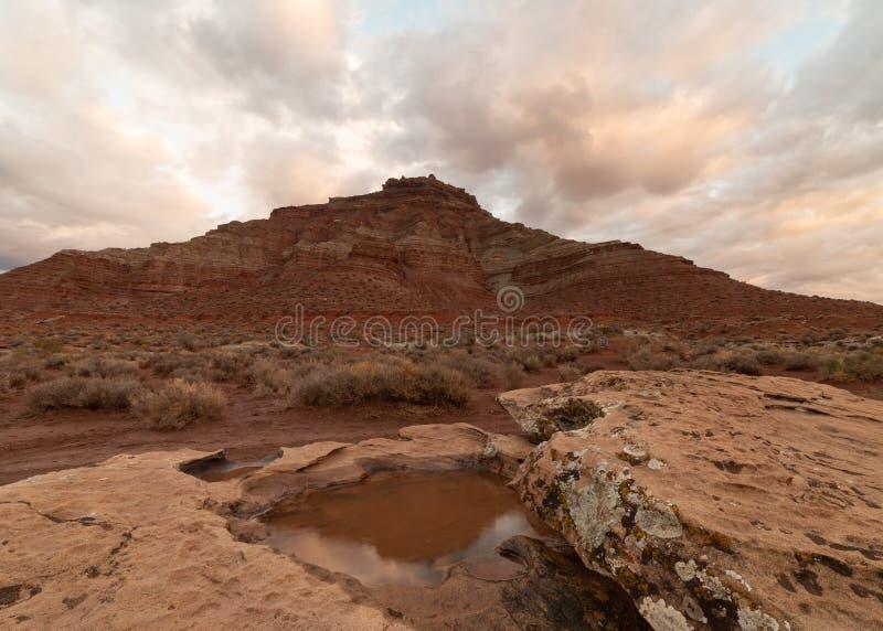 La luce di primo mattino fa le nuvole emettere luce morbidamente dopo una pioggia dell'inverno ha lasciato uno stagno dell'acqua  fotografia stock