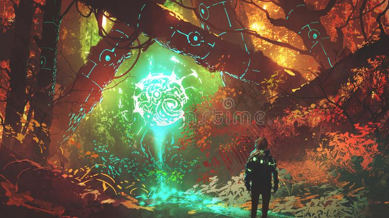 La luce futuristica della foresta incantata illustrazione di stock