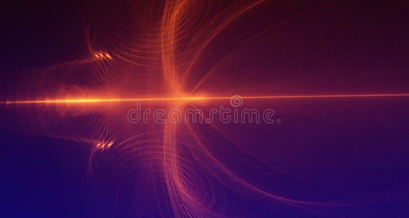 La luce rossa ed arancio astratta emette luce su fondo blu scuro royalty illustrazione gratis