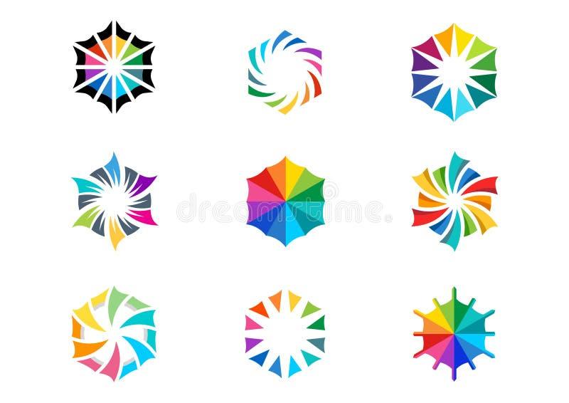 La luce, sole, logo, circonda il vettore astratto di progettazione dell'icona stabilito colorato di simbolo dell'arcobaleno delle illustrazione vettoriale