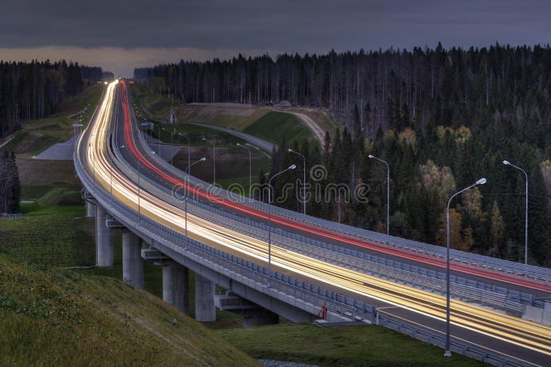 La luce trascina sulla superstrada, attraversa la foresta di notte fotografie stock libere da diritti