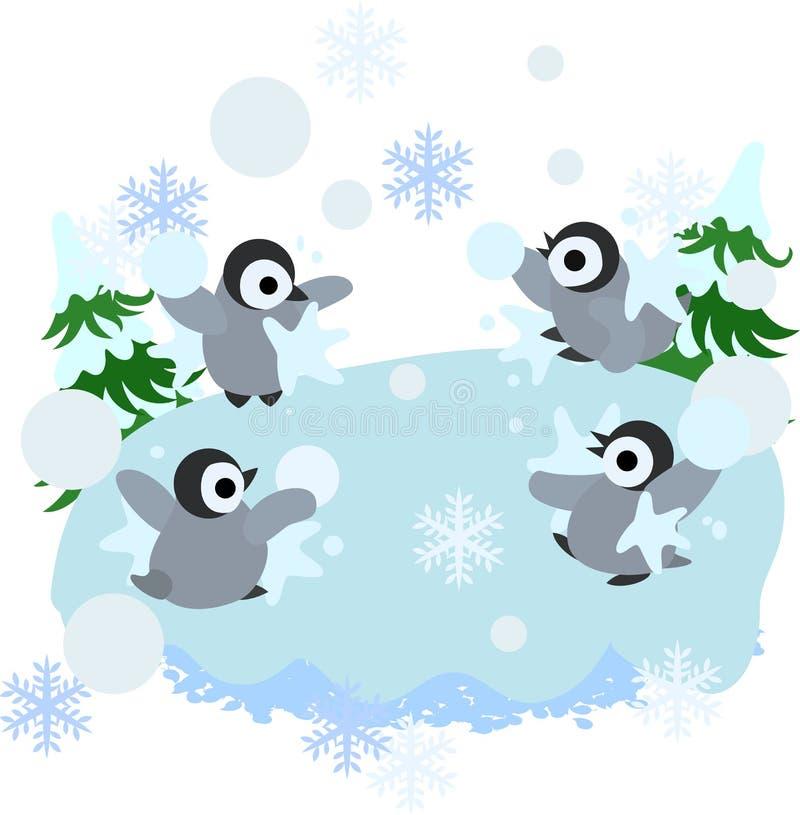 La lucha de la bola de la nieve de pingüinos stock de ilustración