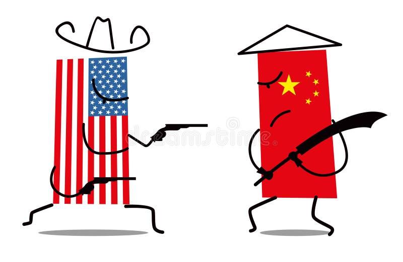 La lucha entre las banderas de los E.E.U.U. y China Vaquero Pistols contra Espada tradicional stock de ilustración