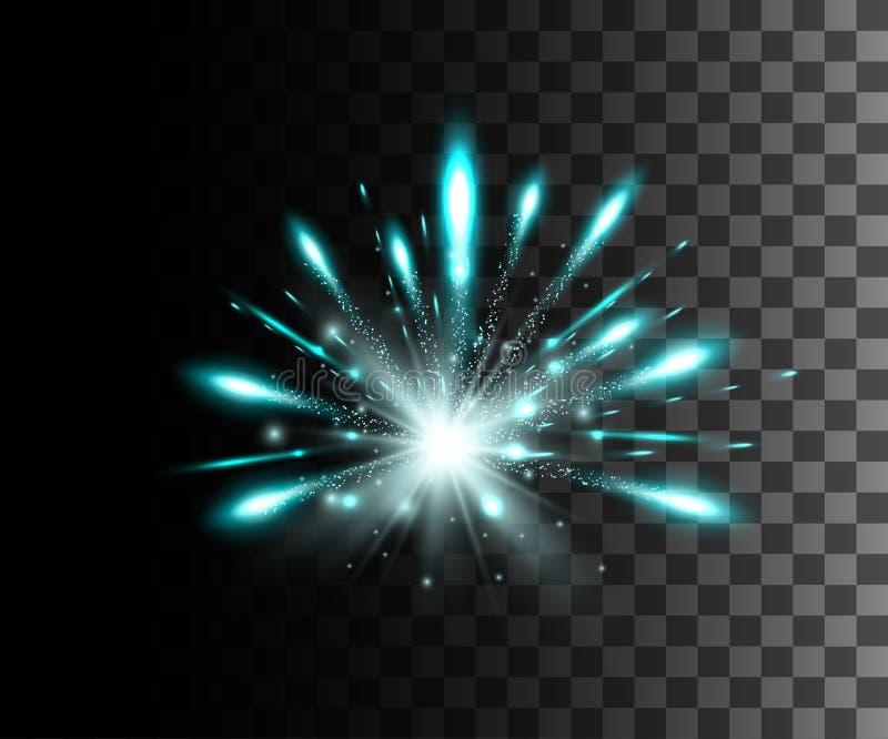La lueur a isolé l'effet transparent blanc, la fusée de lentille, l'explosion, le scintillement, la ligne, l'éclair du soleil, l' illustration de vecteur