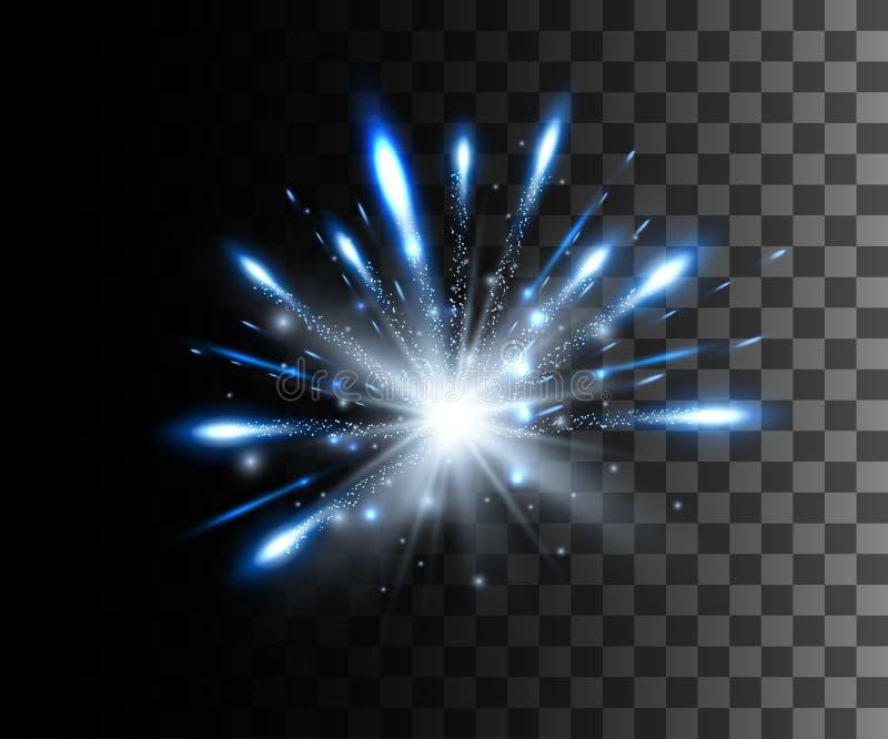 La lueur a isolé l'effet transparent blanc, la fusée de lentille, l'explosion, le scintillement, la ligne, l'éclair du soleil, l' illustration libre de droits