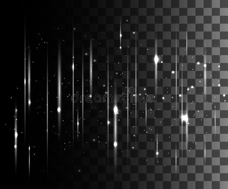 La lueur a isolé l'effet transparent blanc, la fusée de lentille, l'explosion, le scintillement, la ligne, l'éclair du soleil, l' illustration stock