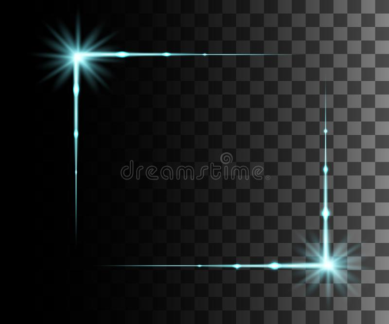 La lueur a isolé l'effet transparent bleu, la fusée de lentille, l'explosion, le scintillement, la ligne, l'éclair du soleil, l'é illustration stock