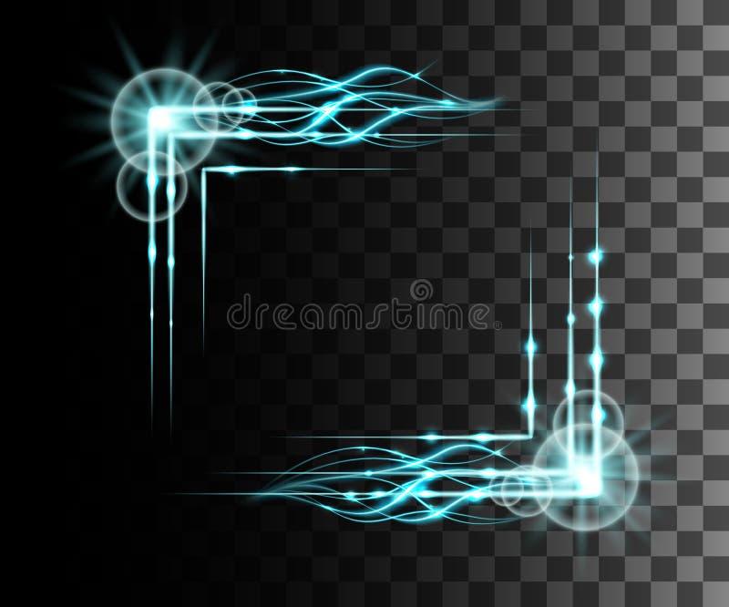 La lueur a isolé l'effet transparent bleu, la fusée de lentille, l'explosion, le scintillement, la ligne, l'éclair du soleil, l'é illustration libre de droits