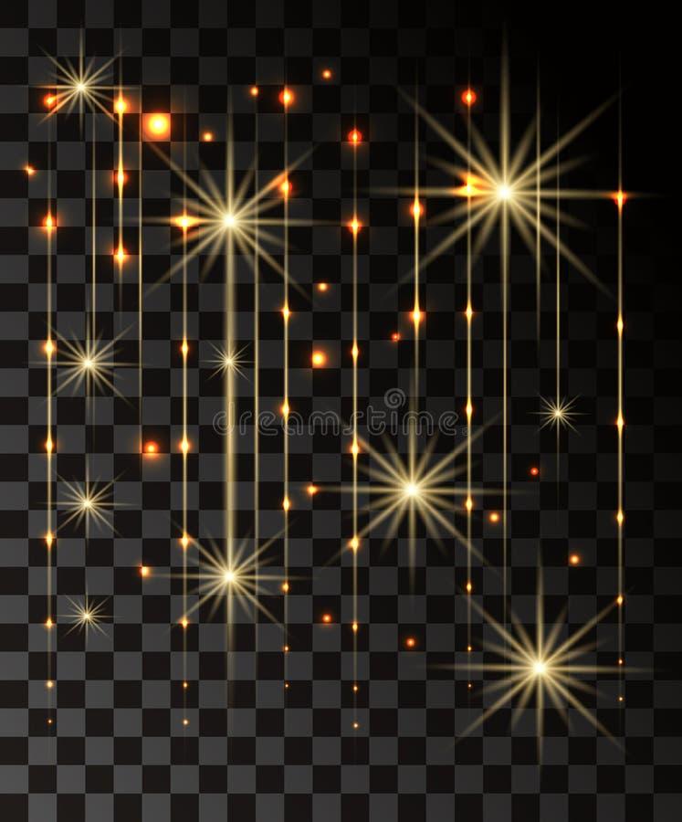 La lueur a isolé l'effet transparent d'or, la fusée de lentille, l'explosion, le scintillement, la ligne, l'éclair du soleil, l'é photo stock
