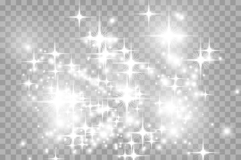 La lueur a isolé l'ensemble d'effet de la lumière, la fusée de lentille, l'explosion, le scintillement, la ligne, l'éclair du sol illustration libre de droits