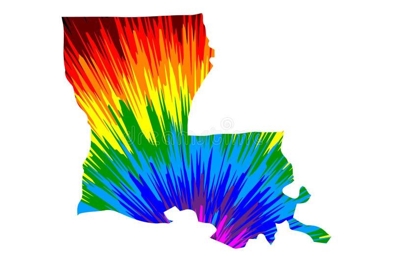 La Luisiana - la mappa ? modello variopinto progettato dell'estratto dell'arcobaleno illustrazione di stock