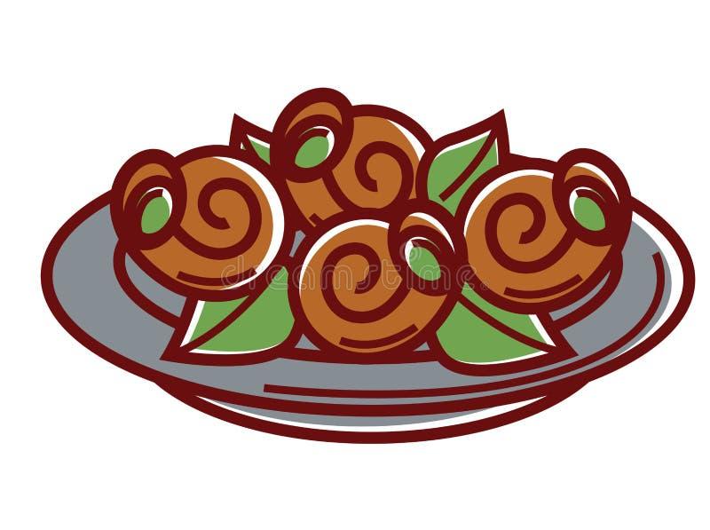 La lumaca con le foglie fresche sul piatto ha isolato l'illustrazione royalty illustrazione gratis
