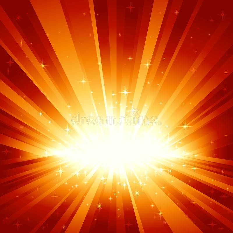 La lumière d'or rouge a éclaté avec des étoiles illustration stock