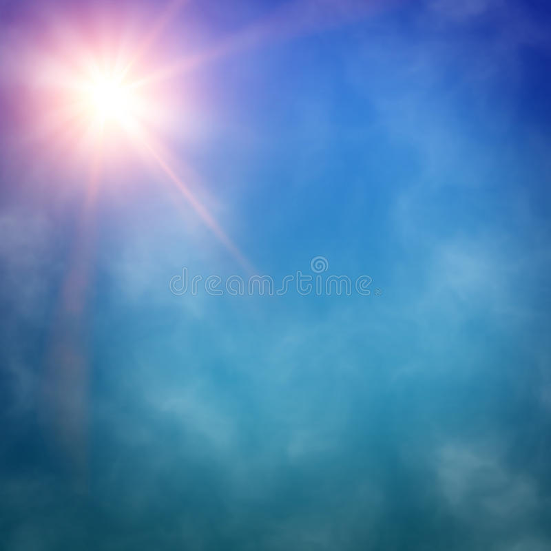 La lumière d'un projecteur rayonne par une fumée illustration stock