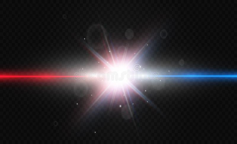 La lumière de deux couleurs est isolée sur le fond transparent illustration stock