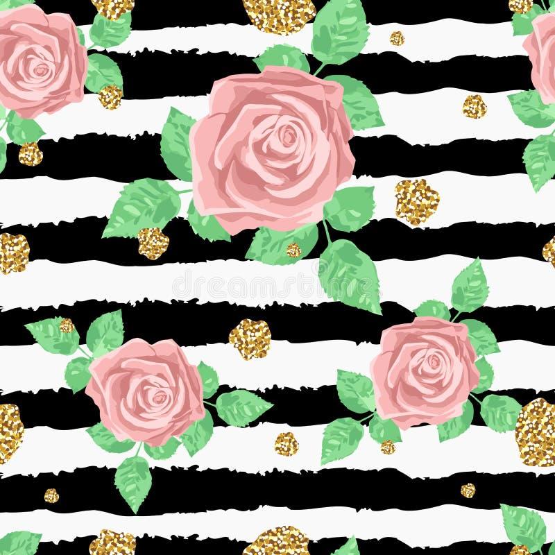 La lumière et le modèle sans couture doux avec des roses et d'or éclabousse illustration stock