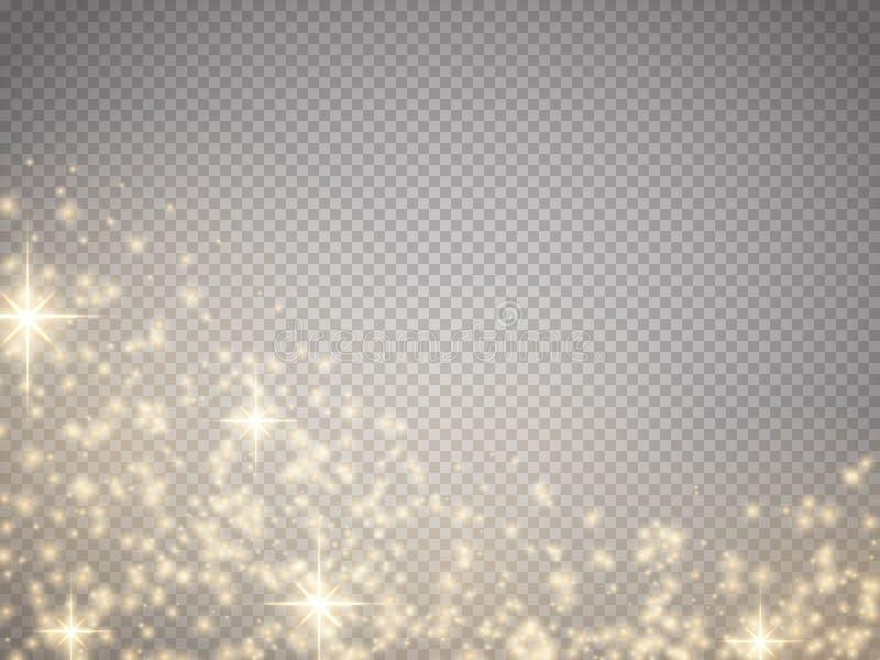 La lumière, la fusée, l'étoile et l'éclat d'effet spécial de lueur étincellent illustration stock