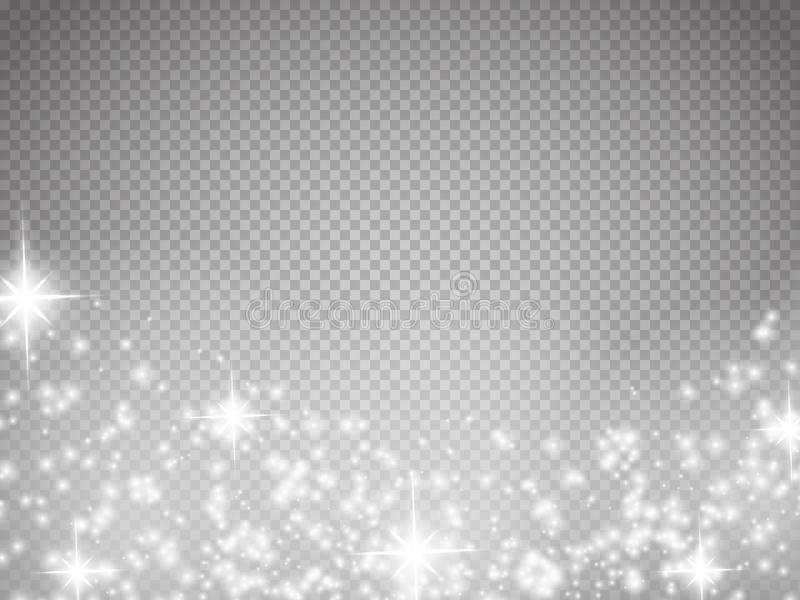 La lumière, la fusée, l'étoile et l'éclat d'effet spécial de lueur ont isolé l'étincelle illustration de vecteur