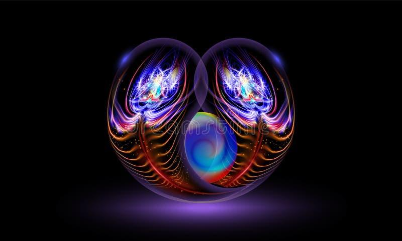 La luminescenza morbida di vettore dell'estratto, due piume del pavone, ha avvolto la perla su fondo nero e scuro nella magia del illustrazione vettoriale