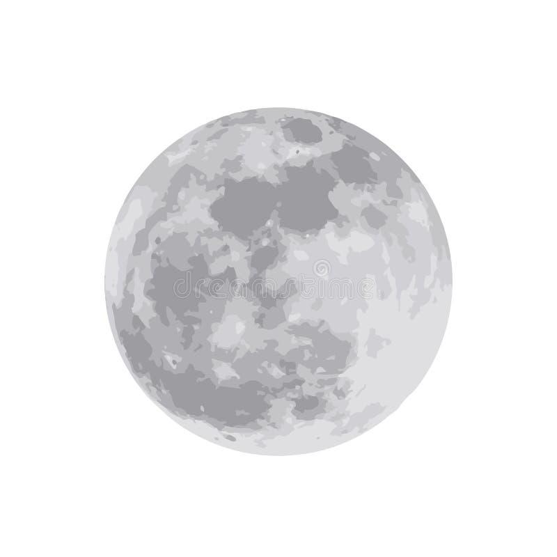La luna aislada en el fondo blanco Ilustración del vector EPS ilustración del vector
