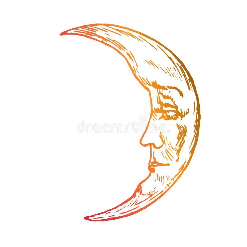 La luna con il giovane fronte di bei sguardi dell'uomo con malinconicamente, progettazione antiquata di stile dell'intaglio in le illustrazione di stock