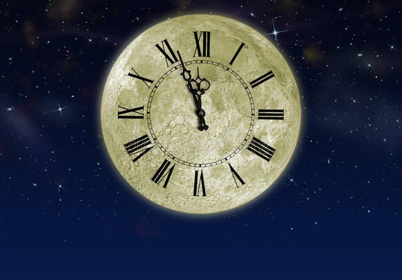 La luna con l'orologio della freccia nel cielo della stella illustrazione di stock