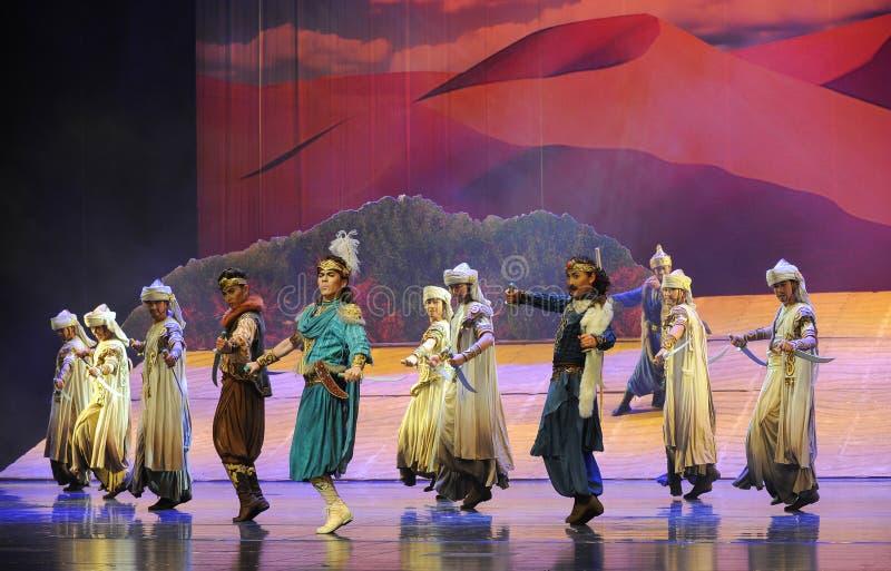 La luna di balletto della scimitarra-Hui del principe sopra Helan fotografie stock libere da diritti