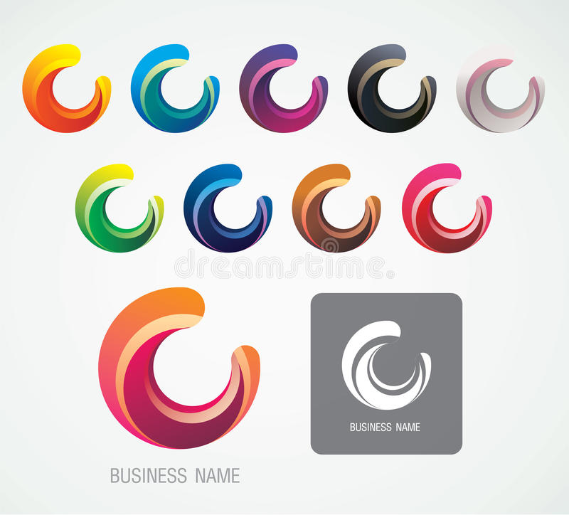 La luna e la C Logo Symbol progettano, minimo moderno fotografie stock libere da diritti